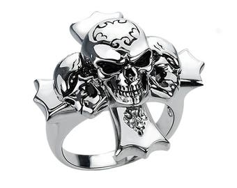 Three Skull Ring with Cross in Solid Sterling Silver