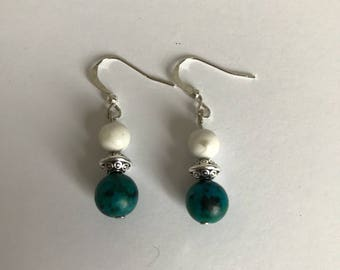 Earrings made with stones semi precious howlite and silver