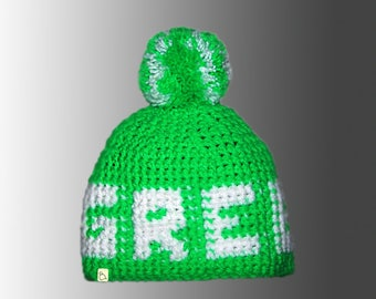 Handmade Custom Crochet Warm Winter Bobble Hat with Letters or Shapes Bespoke Pompom Hat