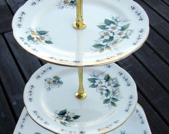 English vintage china cake stand  3 or 2 tier