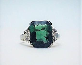 Green Tourmaline and Diamond Ring. Circa 1940