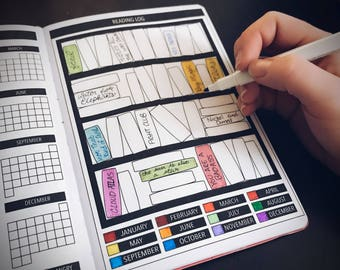 Yearly Reading Log for Passion Planner, Bullet Journal Planner Stickers, Tracker Stickers