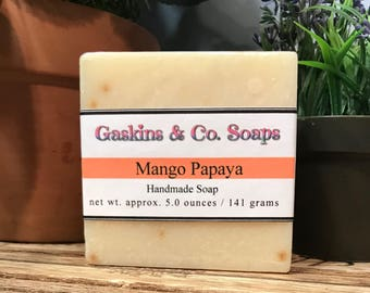 Mango Papaya Handmade Soap   Cold Process Soap Made With Organic Shea Butter & Olive Oil