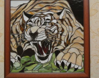 Stained glass of Tiffany. Stained glass painting.