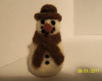 Felted snowman with brown hat and scarf