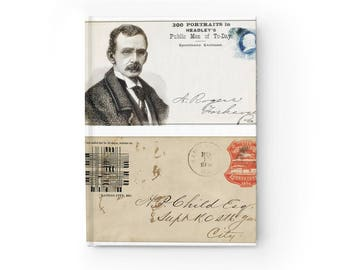 Notebook  Journal  Ruled Line With Printed Old Written Postcards