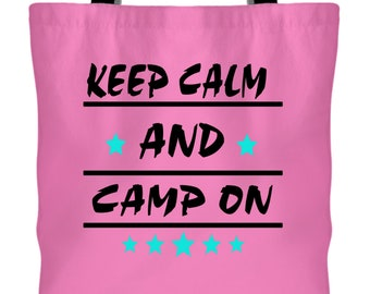 I Love Camping Canvas Tote Bags, Keep Calm And Camp On Tote Bags