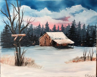 Deer camp painting