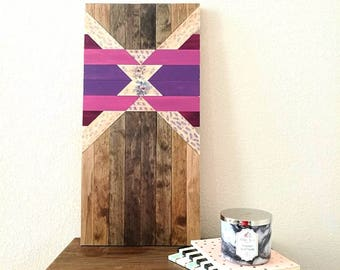 Purple Floral Wood Design