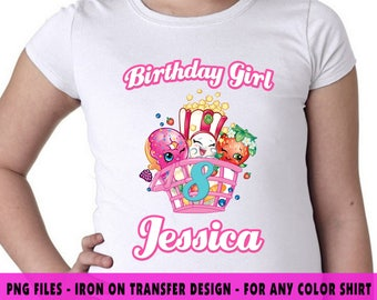 Shopkins Iron On Transfer , Shopkins DIY Transfer , DIY Shopkins Girl Birthday Shirt , Personalize Name And Age , Digital Files , PNG Files