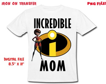 The Incredibles Iron On Transfer - MOM - The Incredibles MOM Birthday Shirt Design -Mom DIY Shirt - Digital Files - Instant Download
