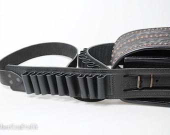 Black messenger bag, hunter bag with cartridge belt, big leather bag, tooled leather, crossbody bag, shoulder bag, capacious bag