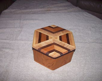6-Sided wood box with lid