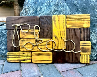 """Distressed, Pallet Wood, Rustic, Wall Art, Wood Art, Wyoming Cowboys, Reclaimed, Home Decor, Man Cave, Guy Gift, Football, """"Pokes Mosaic"""""""