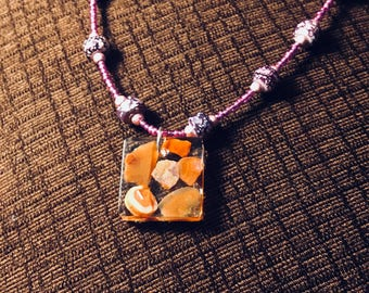 Beaded Necklace with Pendant of Lake Superior Agates in Epoxy Resin
