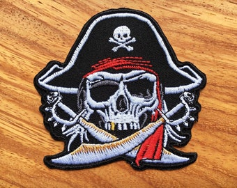 New Pirate Skull Captain Ghost Cross Swords Embroidered Sew Iron on Patch