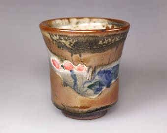 Glost-fired Earthen Teacup- Lotus painting and splashed colours