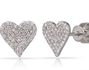 Heart LOVE  Shaped Crawlers Small Diamond Stud Earrings 14k Gold - 0.32 Ct.