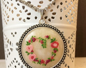 Floral pendant, polymer clay, Valentine's Day gift