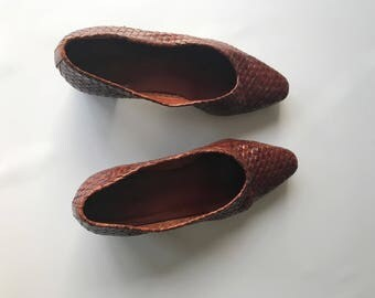 Vintage Enzo Angiolini Brown Braided Leather Block Heels Size 5.5