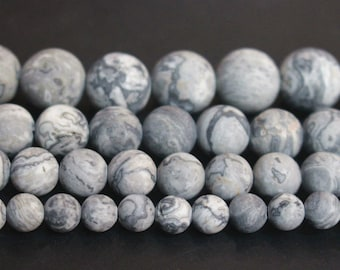 Full strand,Natural Gray picasso jasper matte smooth round beads 6mm 8mm 10mm 12mm beads,loose beads,semi-precious stone