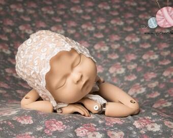 Newborn Lace Bonnet, Lace Baby Bonnet, Baby Girl, Photo Prop Bonnet, Newborn Lace Hat, Photo Prop, Newborn Photography Props, UK Seller