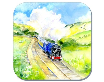 Full Steam Ahead - Train Coaster, Steam Train Coaster (Corked Back). From an original Sheila Gill Watercolour Painting
