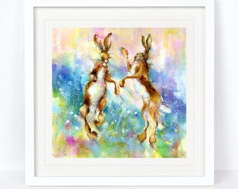 Hopping Mad - Hare Limited Edition Print from an Original Sheila Gill Watercolour. Fine Art, Giclee Print,Hand Painted,Home Decor