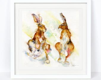 Itchy & Scratchy - Hares Limited Edition Print from an Original Sheila Gill Watercolour. Fine Art, Giclee Print,Hand Painted,Home Decor