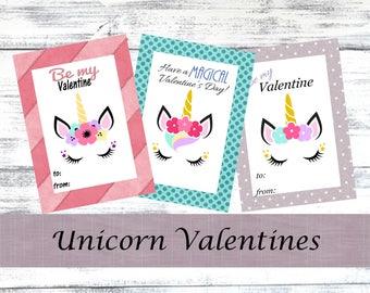 Unicorn Valentine Printable, Valentine Cards, Kids Valentines, Girls Valentine Printable, Unicorn Valentine Cards, Instant Download