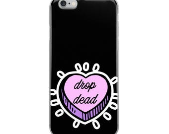 Drop Dead Candy Heart Phone Case, Pastel Goth Phone Cases, Graphic Phone Case, iPhone Case, Samsung Case, Cool Phone Cases, Made to Order