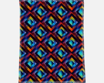 "Gorgeous Bright Geometric Space Print - 30""x40"" Minky Blanket - Baby Blanket - Newborn Gift - Babyshower Gift - Baby Gift"