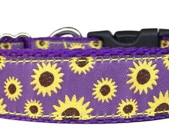 Sun Flowers on Purple Ribbon Dog Collar