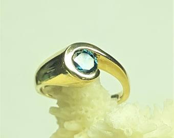 14 Karat Yellow Gold Blue Diamond Ring