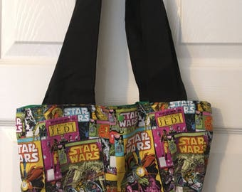 Handmade over the shoulder space fabric tote bag for ladies and teens