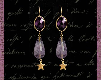 Earrings with Swarovski crystals and amethyst drop