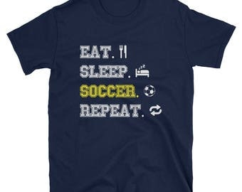 Eat Sleep Score Repeat Soccer T-Shirt For Soccer Players
