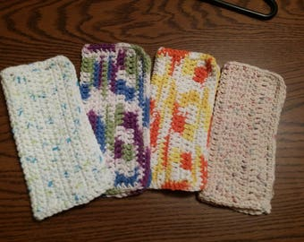 Four 8X8 Hand Crocheted Dish/Wash Cloths Multi-colored 100% Cotton