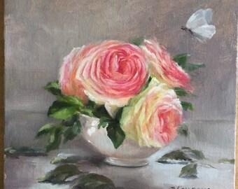 Pierre de Ronsard in Bowl, pink painting oil