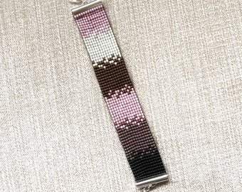 Pink Purple Black Ombre Miyuki Bracelet / Beaded Bracelet / Miyuki Beads / Miyuki Bead Bracelet / Miyuki Delica