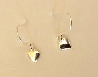 One Dollar Per Pair-GRAND OPENING Special~Silver Plated Brass Heart Earrings