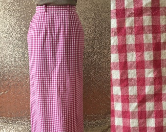 vintage pink and white gingham skirt