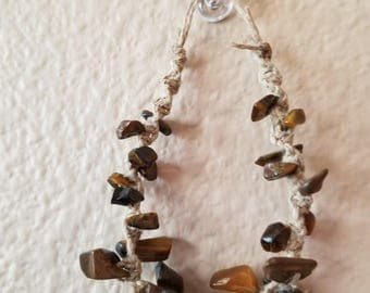 Twisted hemp with tiger's eye bracelet