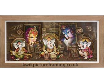 Lord Ganeshaa Vigneshwara With Radha Krishna Hindu God Modern Art Print In Size 20″ X 10″ Inches
