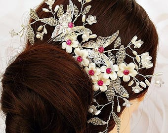 Pink wedding hair comb, butterfly hair comb, fuchsia hair comb, rhinestone hair comb, flower hair comb, bridal hair piece, floral hair comb