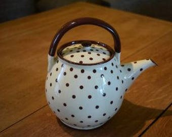 Hand made teapot with brown polka
