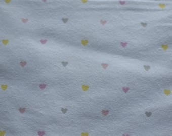 Large Custom Gray, Pink, and Yellow Hearts Flannel Baby Blanket