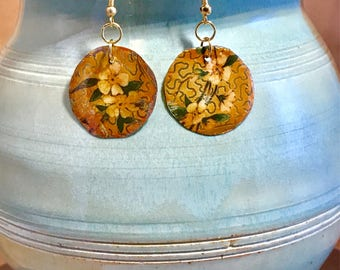 Antique tin earrings