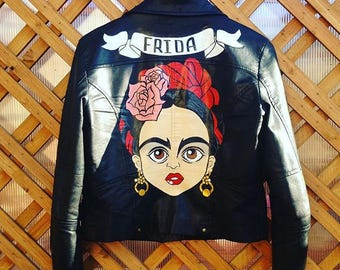 hand painted eco-leather jacket