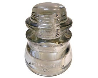 Vintage Whitall Tatum Glass Insulator. Beautiful Clear-Grey Colored Glass. Really Shines. CD155.